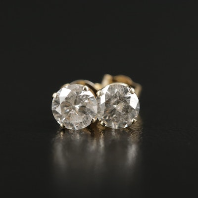 14K Yellow Gold 1.20 CTW Diamond Stud Earrings