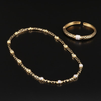 18K Yellow Gold 1.07 CTW Diamond and Enamel Leopard Print Bracelet and Necklace