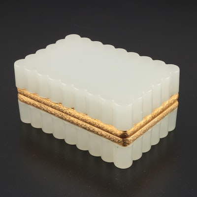 French Gilt Metal-Mounted Opaline Glass Casket Box, Late 19th Century