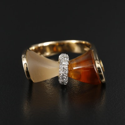 Bibigi 18K Yellow Gold Citrine, Rock Quartz Crystal and Diamond Ring