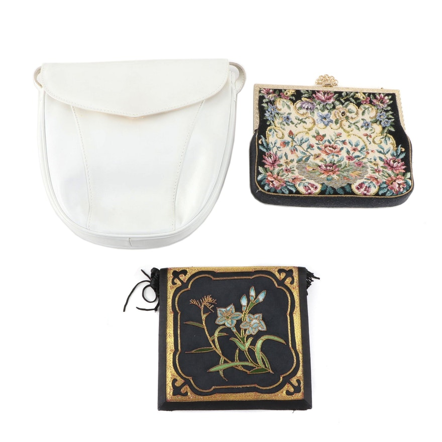 Chinese Embroidered Purse with Needlepoint Purse and Saks Fifth Avenue Bag