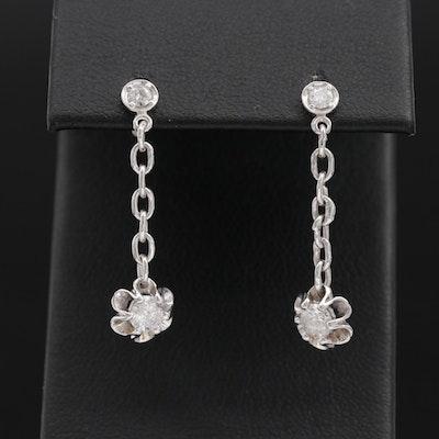14K Gold Diamond Dangle Earrings with Buttercup Settings