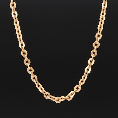 18K Yellow Gold Link Chain Necklace