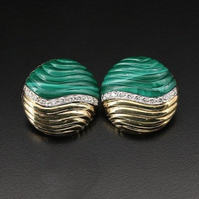 14K Gold Malachite and Diamond Clip On Earrings