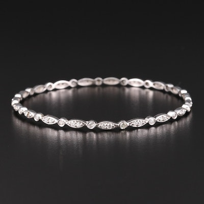 14K White Gold 1.73 CTW Diamond Bangle Bracelet