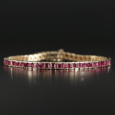14K Yellow Gold 8.40 CTW Ruby Line Bracelet