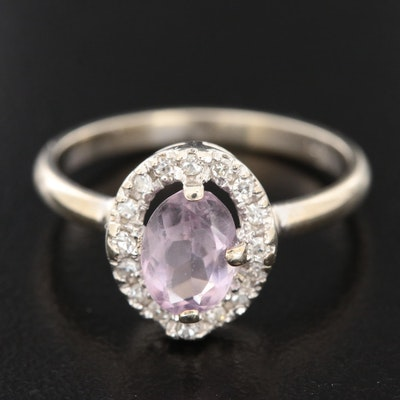 14K White Gold Kunzite and Diamond Ring