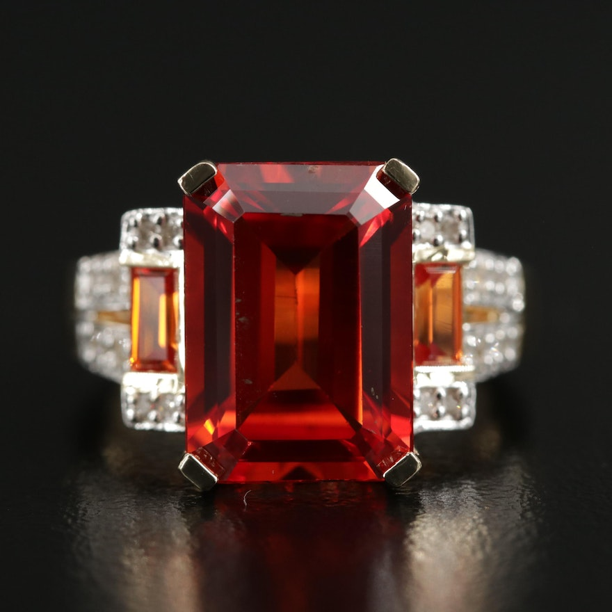 14K Yellow Gold Synthetic Orange Sapphire and Diamond Ring