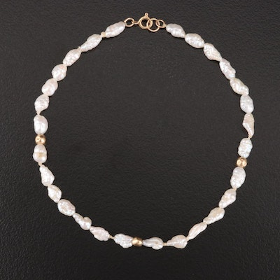 Pearl Bracelet with 14K Yellow Gold Accents