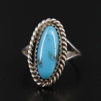 Signed Southwestern Sterling Turquoise Ring