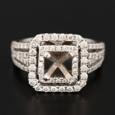14K White Gold Semi-Mount Diamond Ring