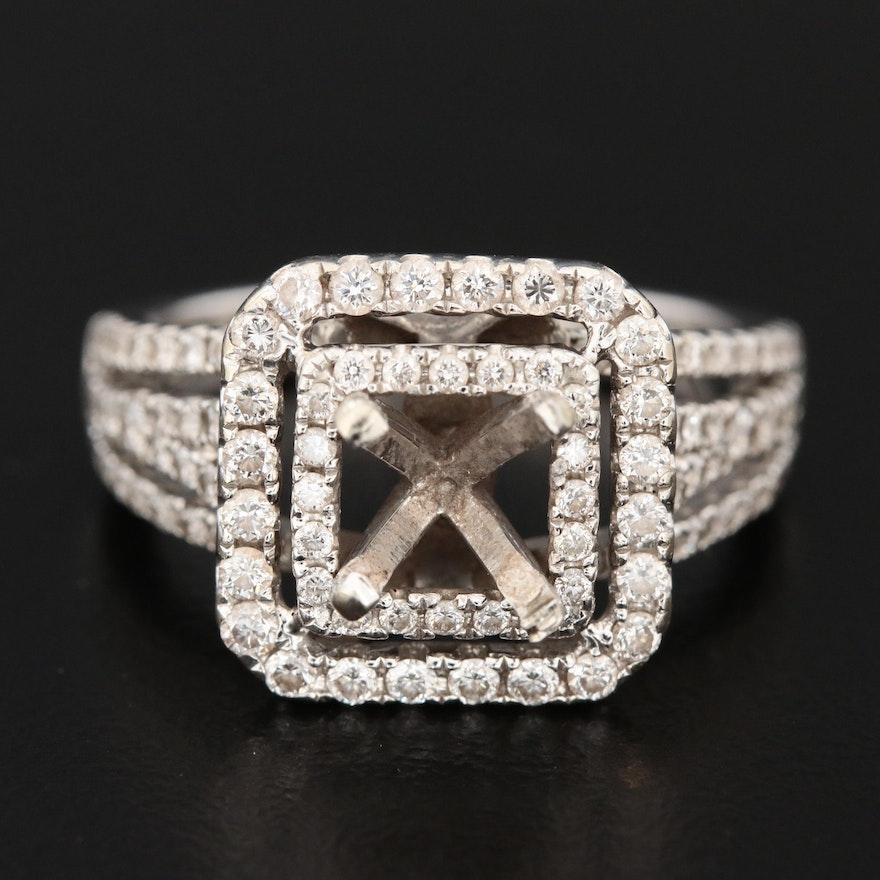 14K White Gold Semi-Mount Diamond Ring