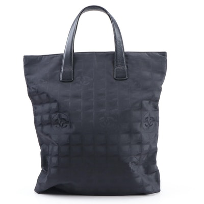 Chanel Jacquard Nylon and Leather Travel Line Tote