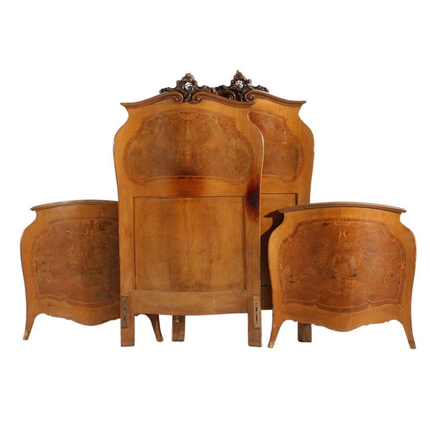 Pair of Italian Rococo Style Walnut and Burl Walnut Twin Beds, Early 20th C.