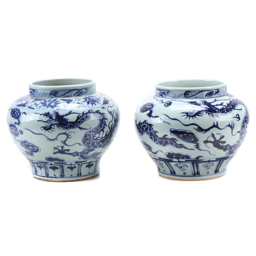 Chinese Blue and White Qinghua Piling Painted Dragon Jardinières