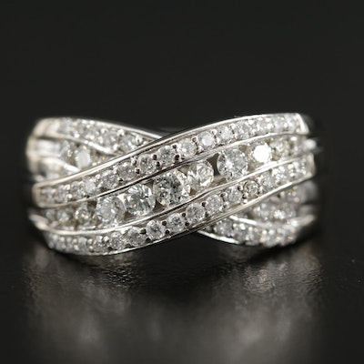 14K White Gold 1.02 CTW Diamond Crossover Ring
