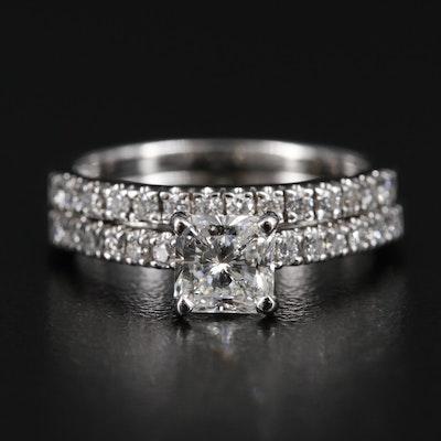 14K White Gold 1.12 CTW Diamond Ring and Band Set