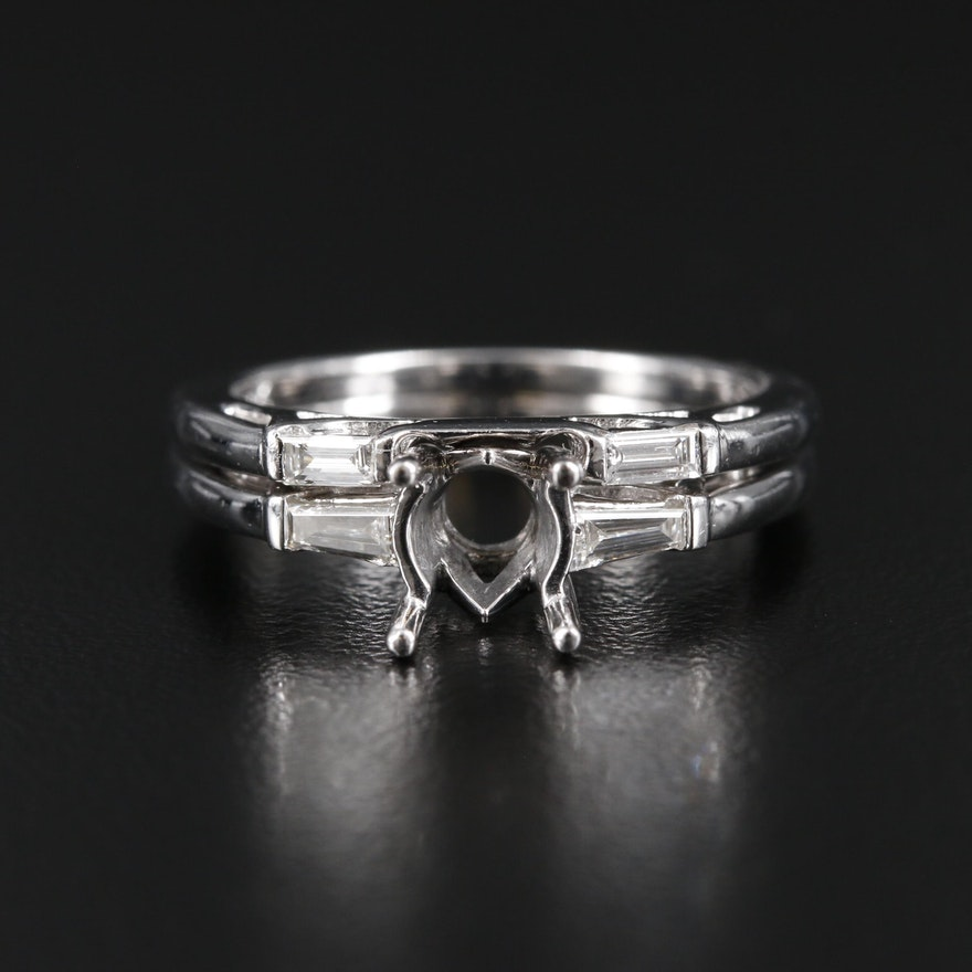 Platinum Diamond Ring and Band Set