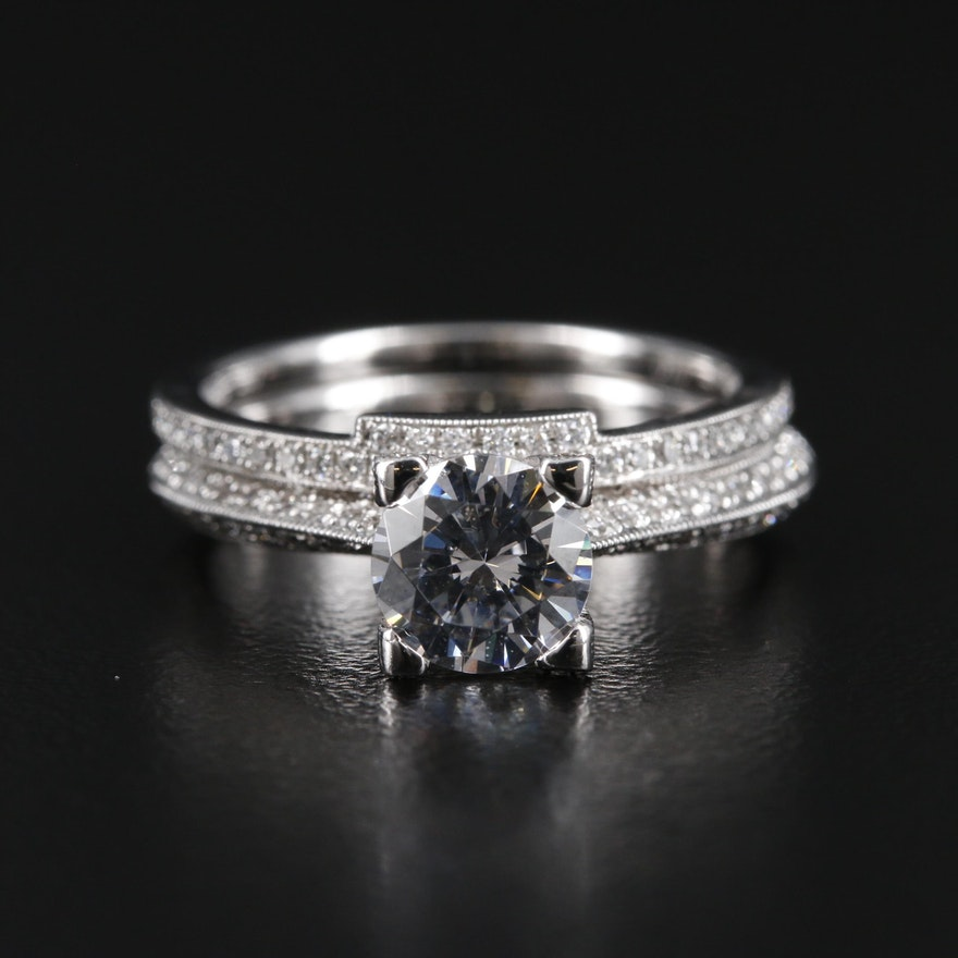Simon G. 18K Diamond Semi-Mount Ring Set