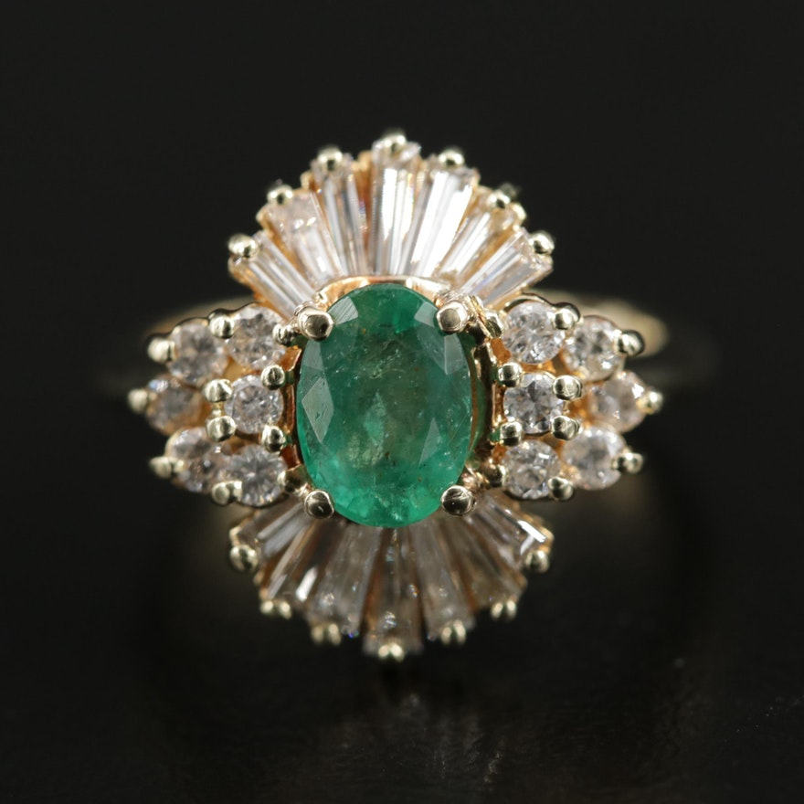 14K Gold Emerald and 1.00 CTW Diamond Ring