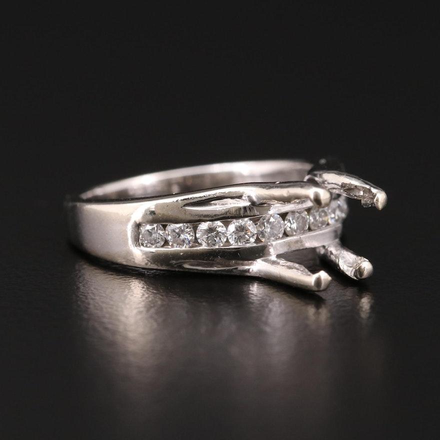 14K White Gold Diamond Semi-Mount