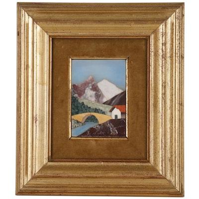 Florentine Pietra Dura Panel of Mountain Landscape
