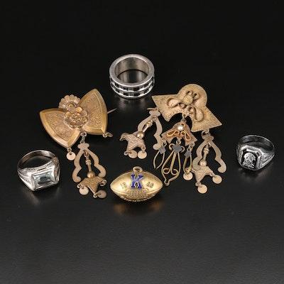 Vintage Jewelry Including 10K, Sterling, Black Onyx and Rock Crystal Quartz