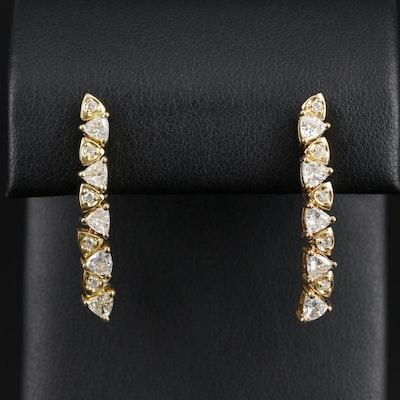 18K Yellow Gold 1.22 CTW Diamond Dangle Earrings