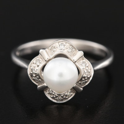 10K White Gold Pearl and Diamond Ring