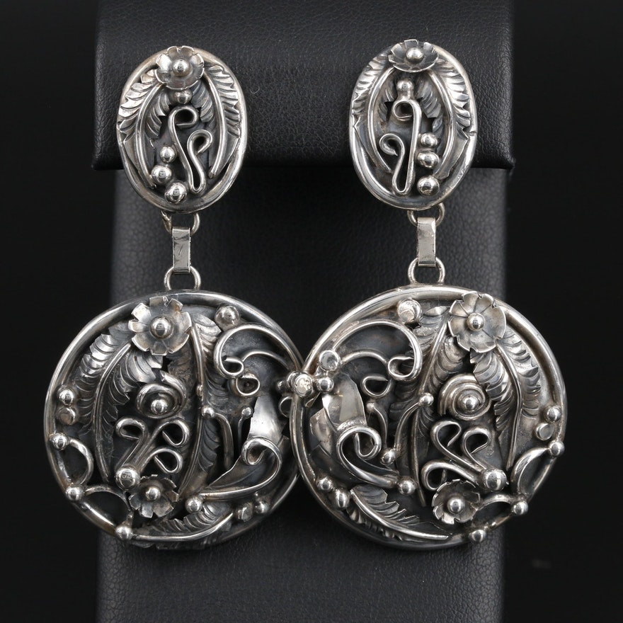 Erecka Lee Navajo Diné Sterling Floral Drop Earrings