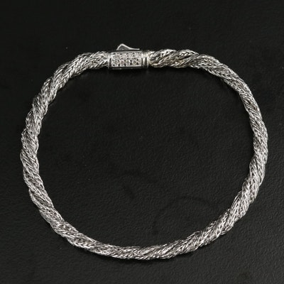 """John Hardy """"Twisted"""" Sterling Silver Bracelet with Diamond Lined Closure"""