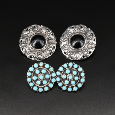 Amy Kahn Russell Black Onyx Earrings and Southwestern Turquoise Earrings