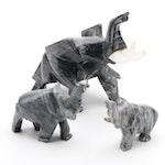 Three Carved and Polished Stone Graduated Elephants