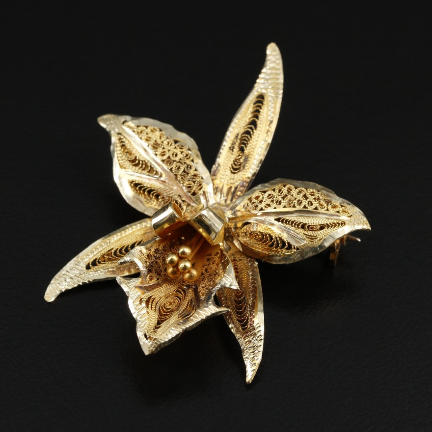 14K Yellow Gold Orchid Brooch