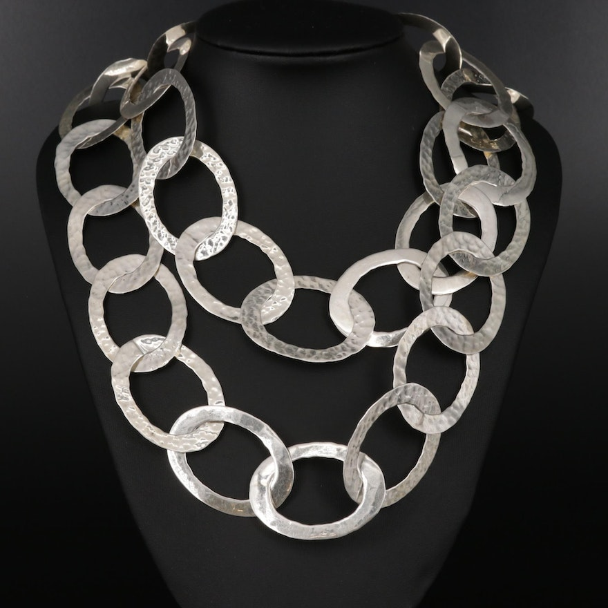 Sterling Hammered Finish Chain Link Necklace
