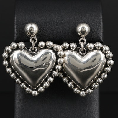 Mexican Sterling Silver Heart Motif Earrings