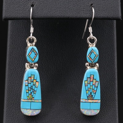 Sheryl Martinez Navajo Diné Sterling Opal and Imitation Turquoise Earrings