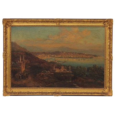 "Landscape Oil Painting ""Overlooking the Harbor"", Late 19th to Early 20th Century"