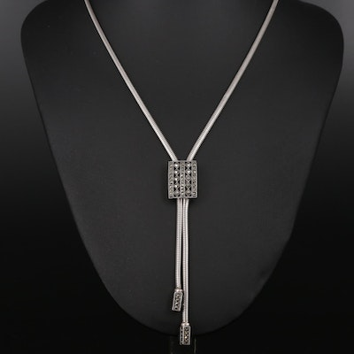 Sterling Marcasite Snake Chain Lariat Necklace
