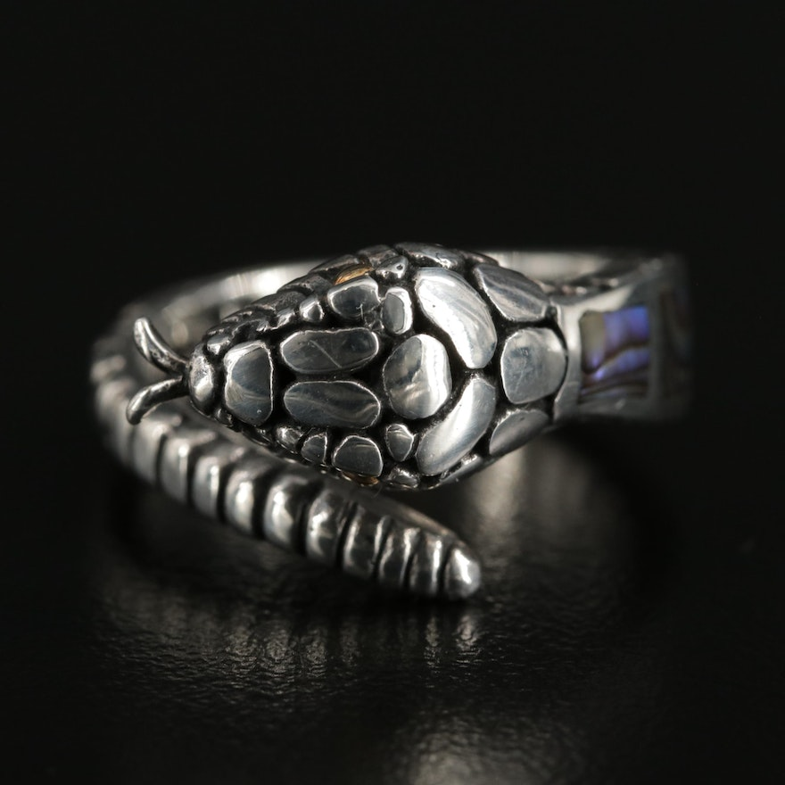 Sterling Silver Abalone Snake Bypass Ring with 18K Accents
