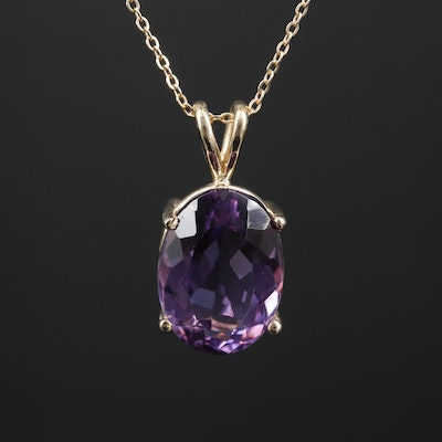 14K Gold 7.00 CT Amethyst Pendant Necklace