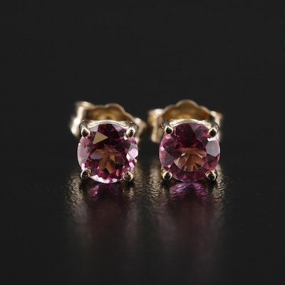 14K Gold Topaz Stud Earrings