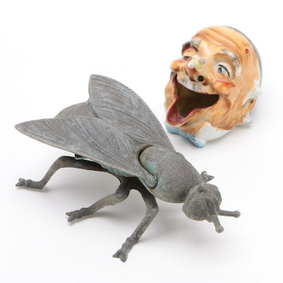 Vintage Figural Ashtrays, Italian Brass Fly and a Laughing Man
