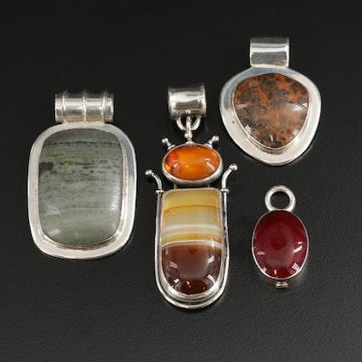 Sterling Bezel Set Gemstone Pendants Including Jasper, Agate and Amber