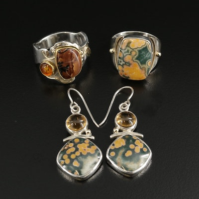 Shano Kelley Sterling Silver Jewelry with Ocean Jasper, Amber and Citrine