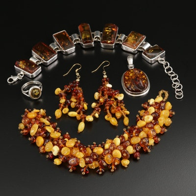 Sterling Amber Bracelets, Earrings, Pendant and Ring