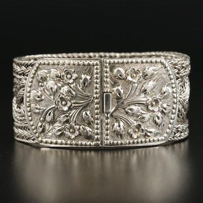 Sterling Silver Thai Braided Foxtail Bracelet with Floral Repoussé Clasp