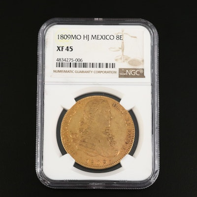 NGC Graded XF45 1809MO HJ Mexico 8 Escudos Gold Coin