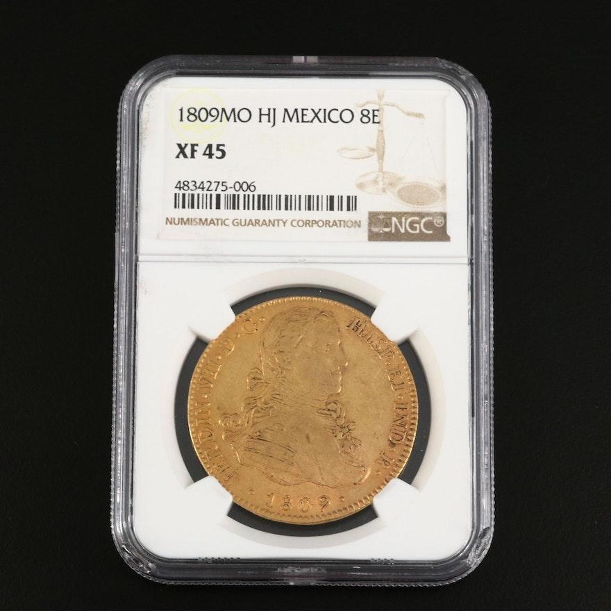 NGC Graded XF45 1809MO HJ Mexico 8 Escudos Gold Coin