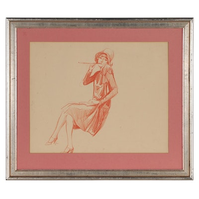 Alexander Levy Pastel Figure Drawing, Early to Mid 20th Century